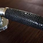 Shagreen, exotic leather door handle